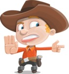 Little Cowboy Kid Cartoon Vector Character AKA Reynold the Lil' Cowboy - Finger Pointing with Angry Face