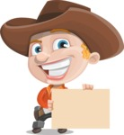 Little Cowboy Kid Cartoon Vector Character AKA Reynold the Lil' Cowboy - Holding a Blank Sign
