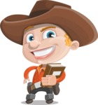 Little Cowboy Kid Cartoon Vector Character AKA Reynold the Lil' Cowboy - Holding a Book