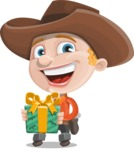 Little Cowboy Kid Cartoon Vector Character AKA Reynold the Lil' Cowboy - Holding a Gift