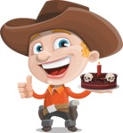Little Cowboy Kid Cartoon Vector Character AKA Reynold the Lil' Cowboy - Holding a Halloween Cake