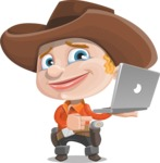 Little Cowboy Kid Cartoon Vector Character AKA Reynold the Lil' Cowboy - Holding a Laptop