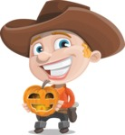 Little Cowboy Kid Cartoon Vector Character AKA Reynold the Lil' Cowboy - Holding a Pumpkin Lantern