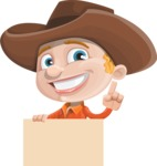 Little Cowboy Kid Cartoon Vector Character AKA Reynold the Lil' Cowboy - Holding Blank Presentation Sign and Making a Point