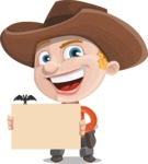 Little Cowboy Kid Cartoon Vector Character AKA Reynold the Lil' Cowboy - Holding Blank Presentation Sign for Halloween