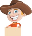 Little Cowboy Kid Cartoon Vector Character AKA Reynold the Lil' Cowboy - Holding Blank Sign and Smiling