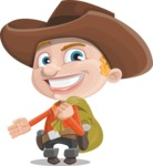 Little Cowboy Kid Cartoon Vector Character AKA Reynold the Lil' Cowboy - Holding Sack with Candies