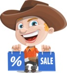 Little Cowboy Kid Cartoon Vector Character AKA Reynold the Lil' Cowboy - Holding Shopping Bags