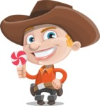 Little Cowboy Kid Cartoon Vector Character AKA Reynold the Lil' Cowboy - Hugging Treat