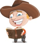 Little Cowboy Kid Cartoon Vector Character AKA Reynold the Lil' Cowboy - Making a Curse with a Book