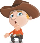Little Cowboy Kid Cartoon Vector Character AKA Reynold the Lil' Cowboy - Making Oops Gesture