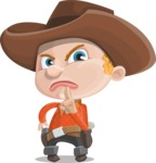 Little Cowboy Kid Cartoon Vector Character AKA Reynold the Lil' Cowboy - Making Quiet Sign with Hand