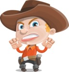 Little Cowboy Kid Cartoon Vector Character AKA Reynold the Lil' Cowboy - Making Scary Face