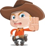 Little Cowboy Kid Cartoon Vector Character AKA Reynold the Lil' Cowboy - Making Stop Sign