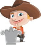 Little Cowboy Kid Cartoon Vector Character AKA Reynold the Lil' Cowboy - On a Grave