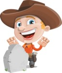Little Cowboy Kid Cartoon Vector Character AKA Reynold the Lil' Cowboy - On a Graveyard