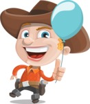 Little Cowboy Kid Cartoon Vector Character AKA Reynold the Lil' Cowboy - On a Party with a Balloon