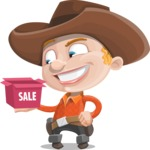 Little Cowboy Kid Cartoon Vector Character AKA Reynold the Lil' Cowboy - On a Sale