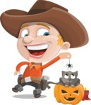 Little Cowboy Kid Cartoon Vector Character AKA Reynold the Lil' Cowboy - Playing With Cat on Halloween