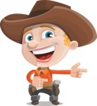 Little Cowboy Kid Cartoon Vector Character AKA Reynold the Lil' Cowboy - Pointing with Hands