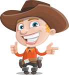 Little Cowboy Kid Cartoon Vector Character AKA Reynold the Lil' Cowboy - Pointing and Making Thumbs Up