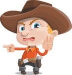 Little Cowboy Kid Cartoon Vector Character AKA Reynold the Lil' Cowboy - Pointing with a Finger