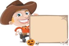 Little Cowboy Kid Cartoon Vector Character AKA Reynold the Lil' Cowboy - With Whiteboard on Halloween Theme