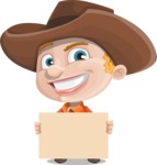 Little Cowboy Kid Cartoon Vector Character AKA Reynold the Lil' Cowboy - Presenting on a Blank Sign