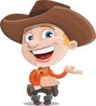 Little Cowboy Kid Cartoon Vector Character AKA Reynold the Lil' Cowboy - Presenting with Both Hands