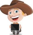 Little Cowboy Kid Cartoon Vector Character AKA Reynold the Lil' Cowboy - Showing on a Blank Tablet