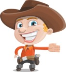 Little Cowboy Kid Cartoon Vector Character AKA Reynold the Lil' Cowboy - Showing with a Hand