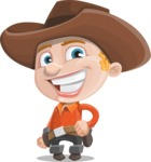 Little Cowboy Kid Cartoon Vector Character AKA Reynold the Lil' Cowboy - Smiling