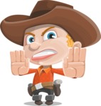 Little Cowboy Kid Cartoon Vector Character AKA Reynold the Lil' Cowboy - Stopping with Hands