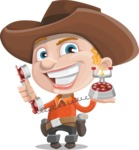 Little Cowboy Kid Cartoon Vector Character AKA Reynold the Lil' Cowboy - Talking on Phone