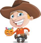 Little Cowboy Kid Cartoon Vector Character AKA Reynold the Lil' Cowboy - Trick Or Treating