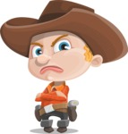 Little Cowboy Kid Cartoon Vector Character AKA Reynold the Lil' Cowboy - Waiting with Crossed Hands