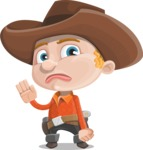Little Cowboy Kid Cartoon Vector Character AKA Reynold the Lil' Cowboy - Waving for Goodbye with a Hand