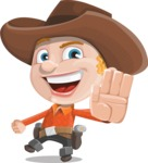 Little Cowboy Kid Cartoon Vector Character AKA Reynold the Lil' Cowboy - Waving for Welcome with a Hand