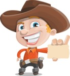 Little Cowboy Kid Cartoon Vector Character AKA Reynold the Lil' Cowboy - With a Blank Business Card
