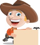 Little Cowboy Kid Cartoon Vector Character AKA Reynold the Lil' Cowboy - With a Blank Halloween Sign with a Bat