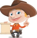 Little Cowboy Kid Cartoon Vector Character AKA Reynold the Lil' Cowboy - With a Blank Scroll