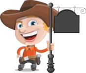 Little Cowboy Kid Cartoon Vector Character AKA Reynold the Lil' Cowboy - With a Blank Vintage Street Sign