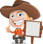 Little Cowboy Kid Cartoon Vector Character AKA Reynold the Lil' Cowboy - With a Blank Wood Sign