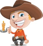 Little Cowboy Kid Cartoon Vector Character AKA Reynold the Lil' Cowboy - With a Candle