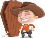 Little Cowboy Kid Cartoon Vector Character AKA Reynold the Lil' Cowboy - With a Coffin and a Zombie