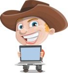 Little Cowboy Kid Cartoon Vector Character AKA Reynold the Lil' Cowboy - With a Computer