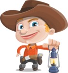 Little Cowboy Kid Cartoon Vector Character AKA Reynold the Lil' Cowboy - With a Lantern