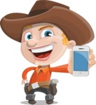 Little Cowboy Kid Cartoon Vector Character AKA Reynold the Lil' Cowboy - With a Phone
