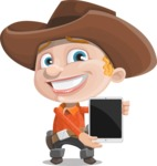 Little Cowboy Kid Cartoon Vector Character AKA Reynold the Lil' Cowboy - With a Tablet