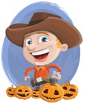 Little Cowboy Kid Cartoon Vector Character AKA Reynold the Lil' Cowboy - With a Watercolor Background